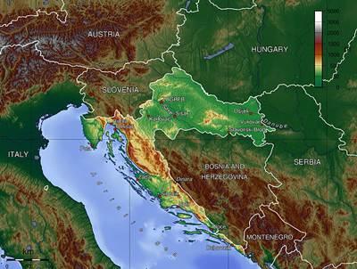 แผนที่ประเทศโครเอเชีย
