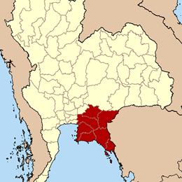 แผนที่ภาคตะวันออกของไทย